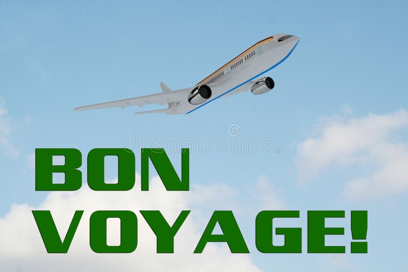 BON VOYAGE! concept. 3D illustration of BON VOYAGE! title on cloudy sky as a background, under an airplane which is taking off stock illustration