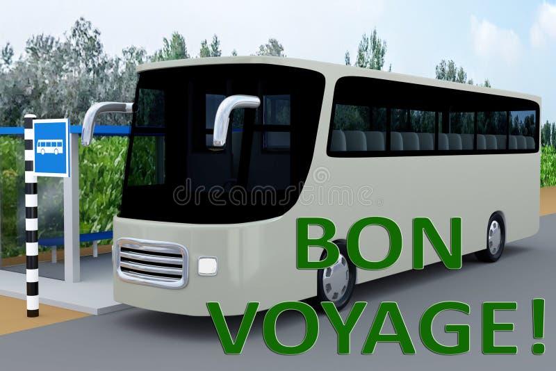 BON VOYAGE! concept. 3D illustration of BON VOYAGE! title, under a bus in a bus station royalty free illustration