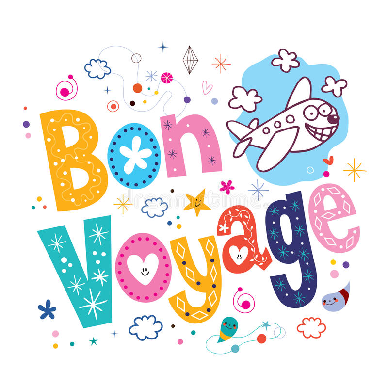 Bon Voyage. Decorative type lettering design with cute plane character royalty free illustration