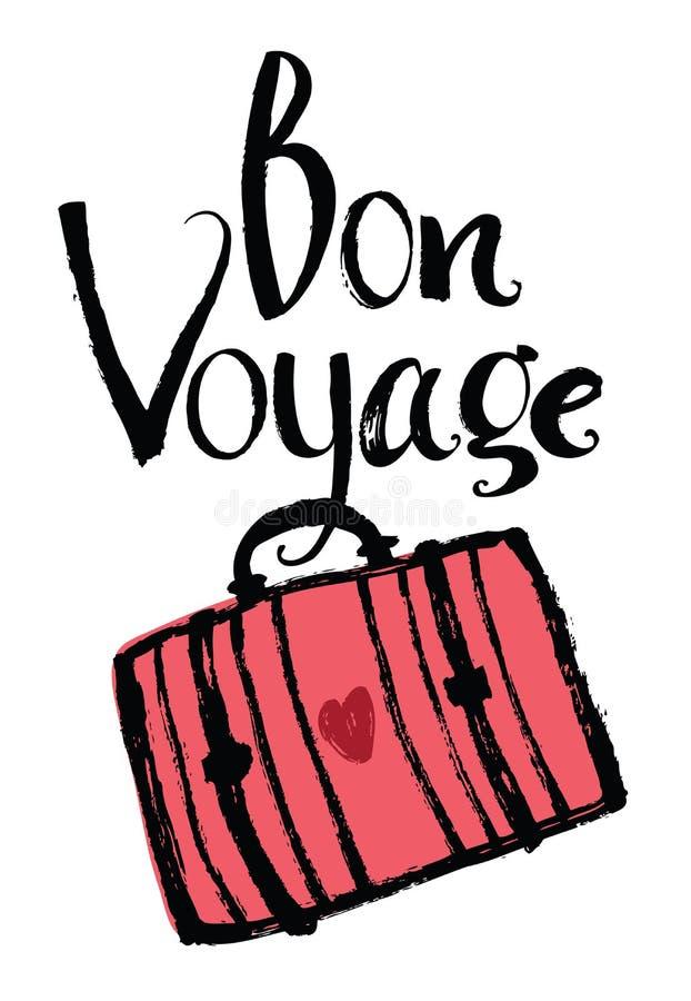 Bon Voyage. Design card with suitcase vector illustration