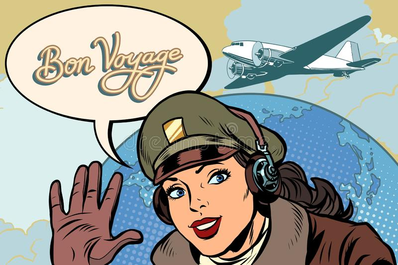 Bon voyage girl woman retro Aviator pilot royalty free illustration