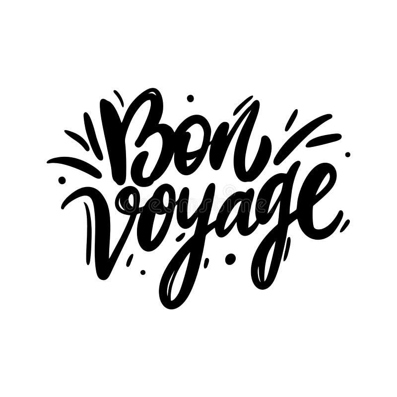 Bon Voyage Hand het getrokken vector van letters voorzien Geïsoleerdj op witte achtergrond vector illustratie