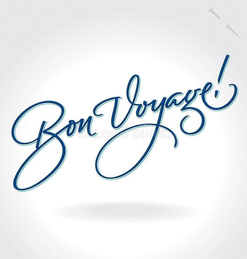 'Bon Voyage' hand lettering (vector). 'Bon Voyage' hand lettering - handmade calligraphy, vector (eps8 stock illustration