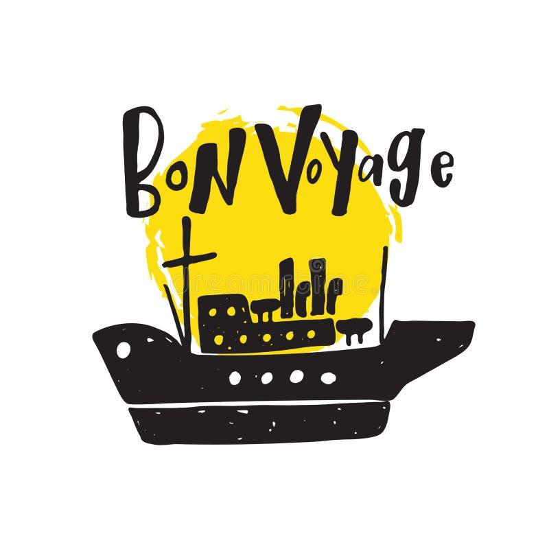 Bon Voyage Hand van letters voorziende kaart royalty-vrije illustratie
