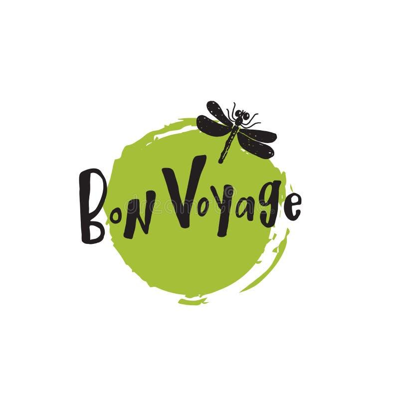 Bon Voyage Handbeschriftungskarte Einzigartige Hand gezeichnete Illustration der Libelle stock abbildung