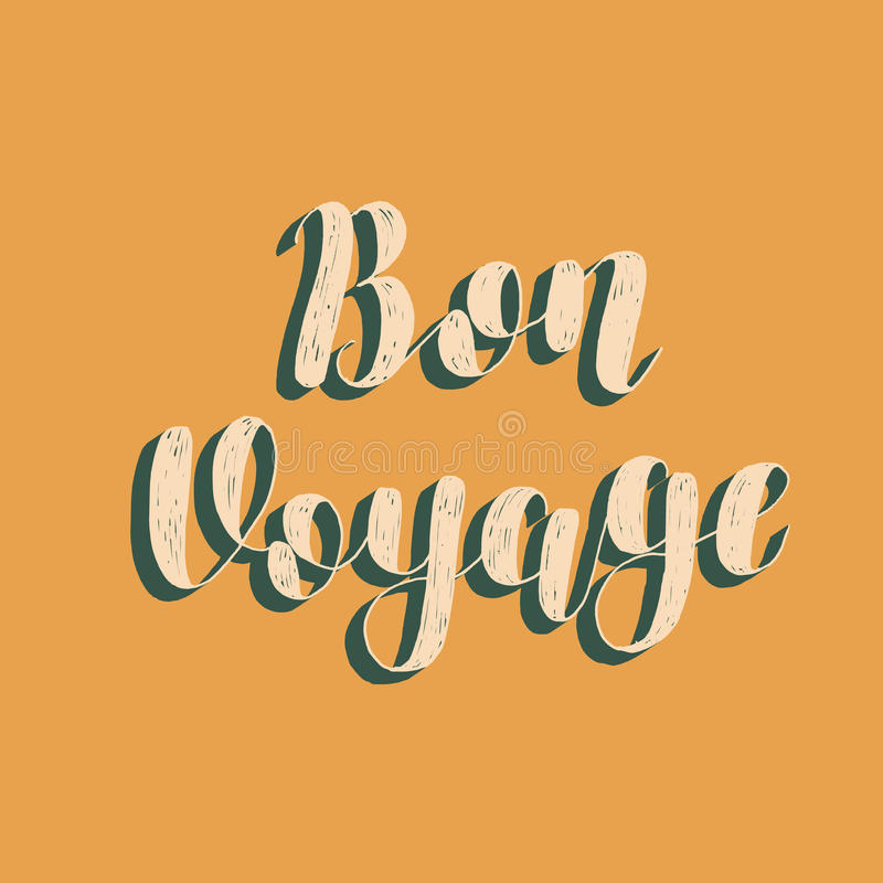 Bon Voyage Illustration för borstebokstävervektor stock illustrationer