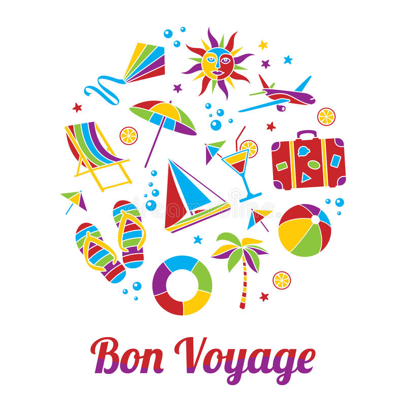 Bon Voyage kort royaltyfri illustrationer