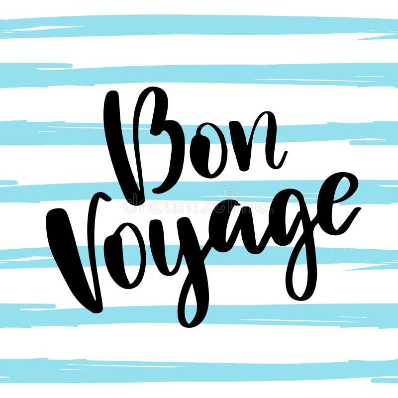 Bon Voyage poster met handschrift royalty-vrije illustratie