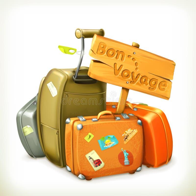 Bon voyage sign and travel bags. Travel set with Bon Voyage sign and bags, ready for trip, on white background vector illustration