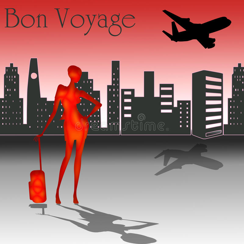 Bon Voyage with skyline. Bon Voyage text with a woman and city in the background and an airplane in the sky royalty free illustration