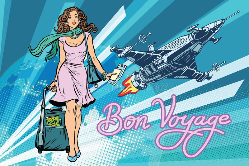 Bon voyage space travel, space tourism royalty free illustration