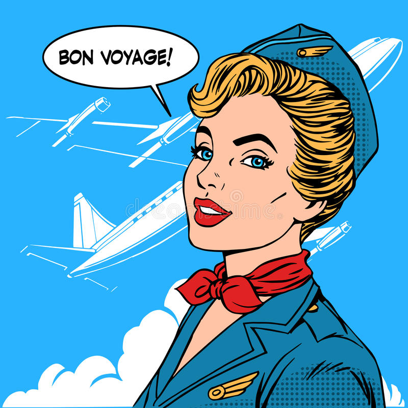 Bon voyage stewardess airplane travel tourism. Pop art retro style. Business concept success. Aviation transportation and flights vector illustration
