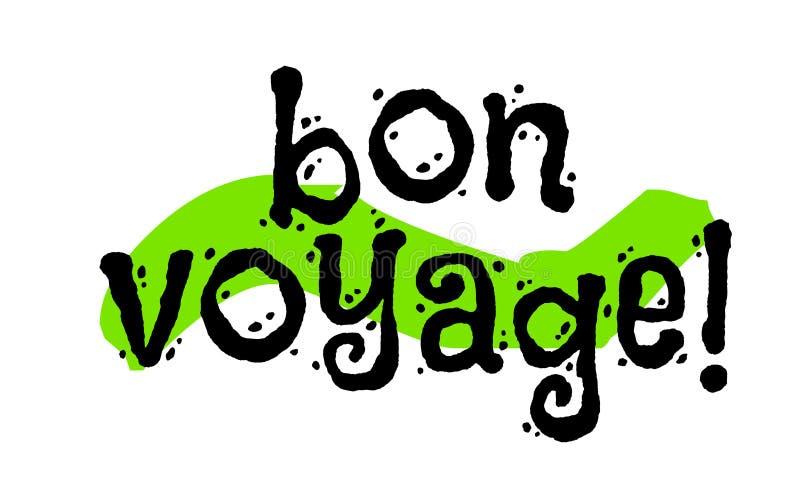 Bon voyage sticker. Good journey in french language. Authentic design graphic stamp. Original series vector illustration