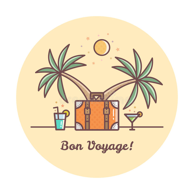 Bon Voyage. Suitcase and palm trees. Vector illustration. Bon Voyage. Suitcase and drinks. Vector illustration vector illustration