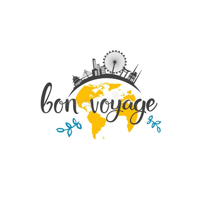 Bon Voyage Travel Icon Hand dessiné marquant avec des lettres le concept d'aventure de tourisme illustration libre de droits