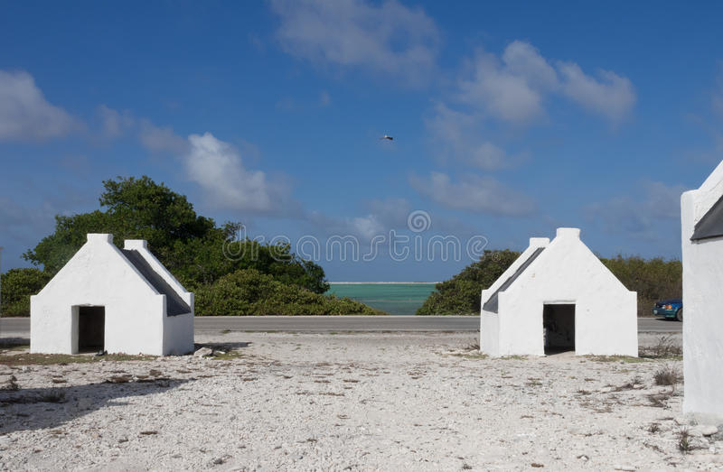 Bonaire - Sklavenhäuser stockfoto