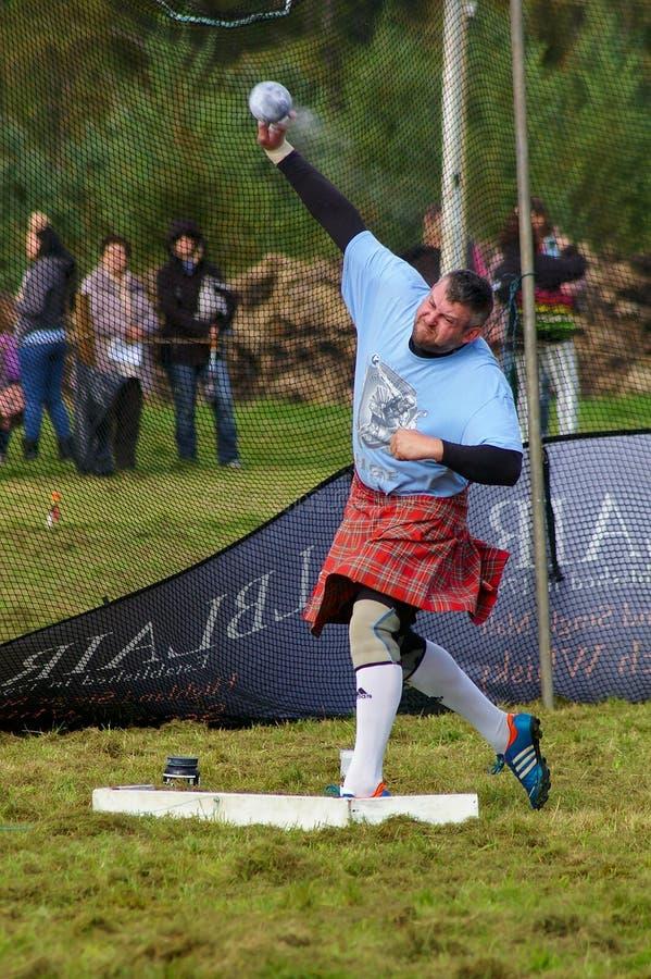 Bonar Bridge, Scotland - September 20th, 2014 - Shot putter competing in the Highland Games royalty free stock photos