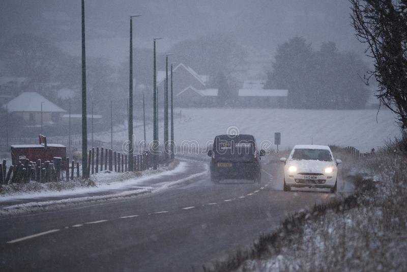 Heavy snow in the Scottish Highlands and much of the UK stock images
