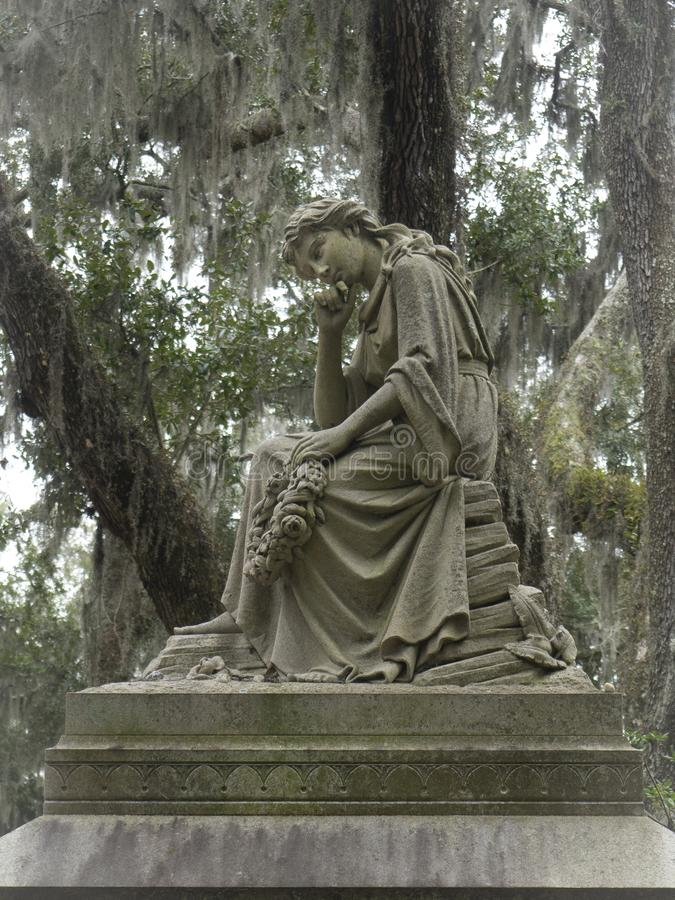 Tombstone in the Bonaventure Cemetery royalty free stock photography