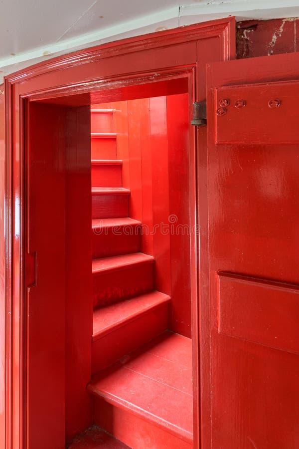 Bonavista灯塔红色楼梯 库存图片