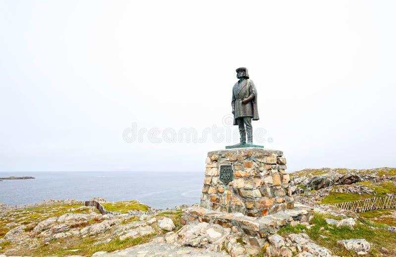 Bonavista, νέα γη Καναδάς Άγαλμα του John Cabot Ιταλικοί πλοηγός και εξερευνητής στοκ φωτογραφίες
