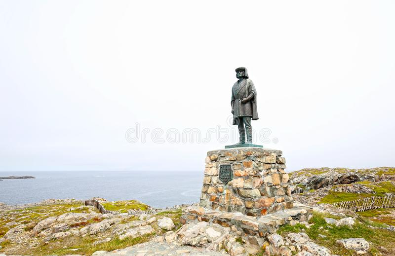 Bonavista, Terranova canadá Estatua de John Cabot Navegador y explorador italianos fotos de archivo