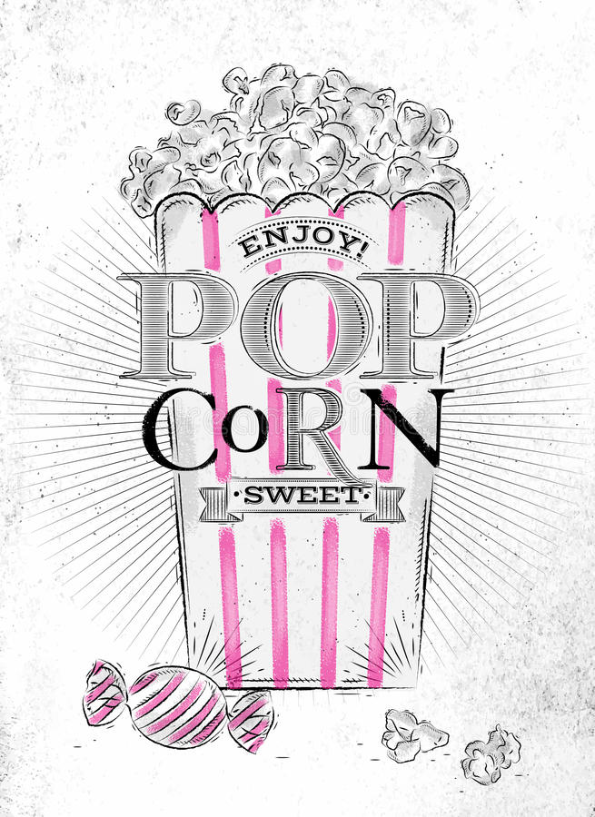 Bonbon à maïs éclaté d'affiche illustration stock