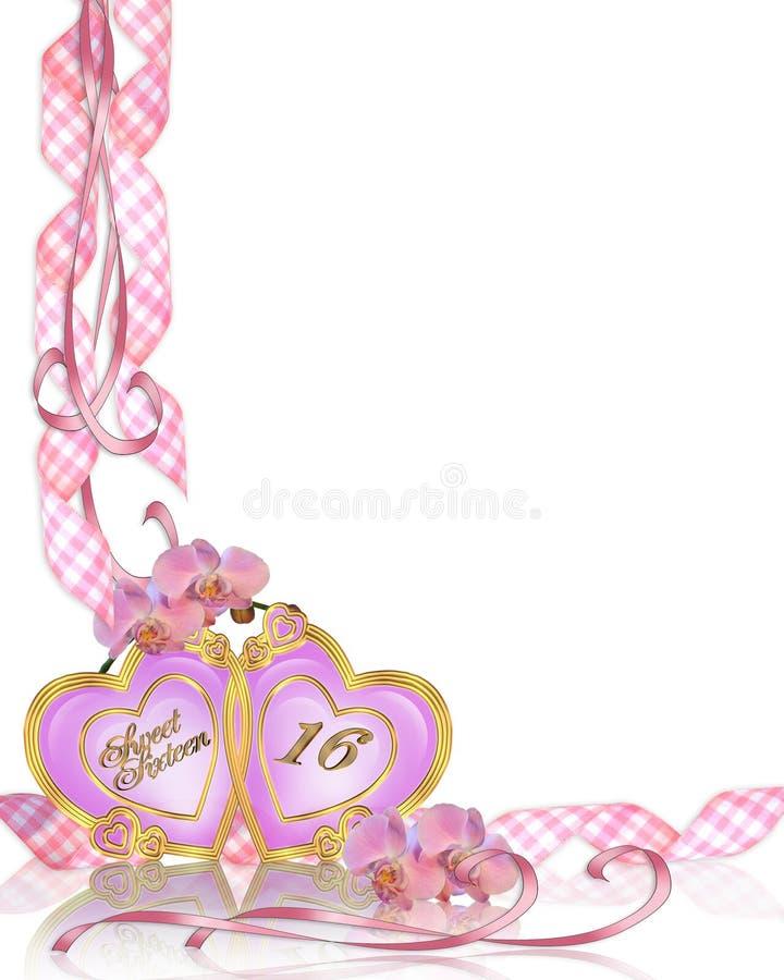 Bonbon 16-Geburtstag-Einladungsrand stock abbildung