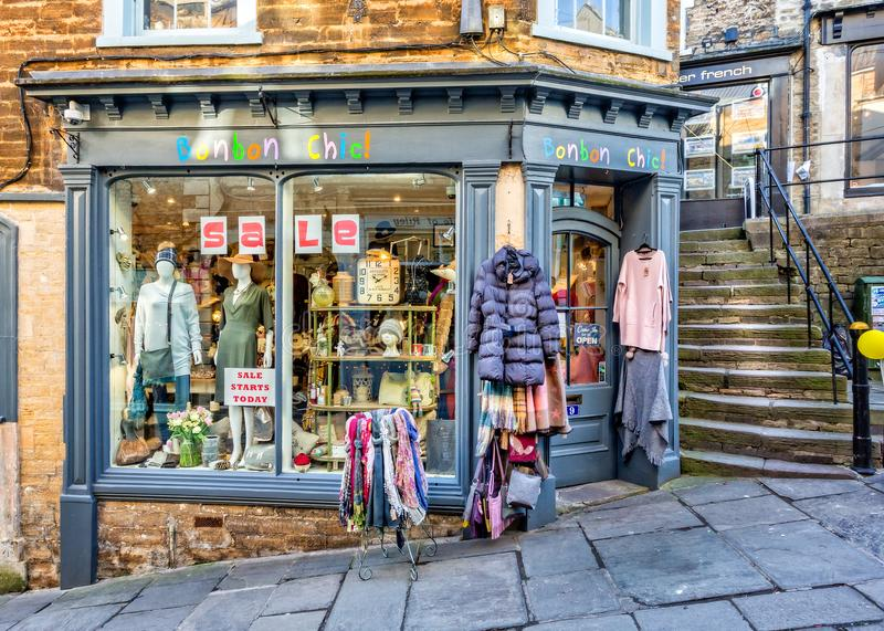 Bonbon Chic shop front in Frome, Somerset. On Catherine Hill stock images