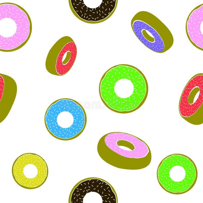 Bonbon glasig-glänzendes bunter Donut-nahtloses Muster Schnellimbissbeschaffenheit lizenzfreie abbildung