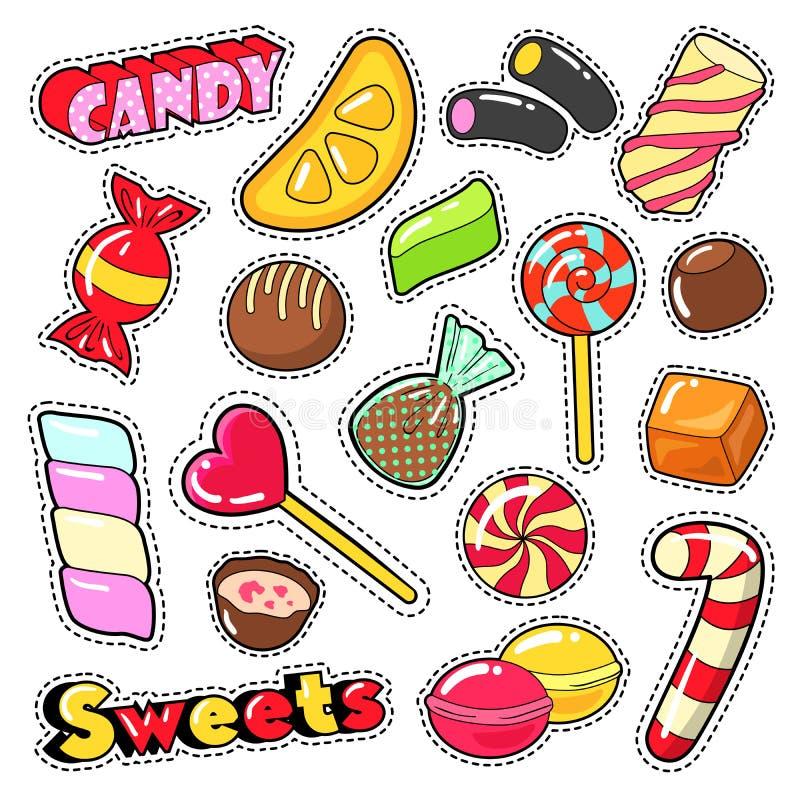 Bonbon-Lebensmittel-Süßigkeits-Aufkleber, Flecken, Ausweise mit Lutscher, Praline und Gelee lizenzfreie abbildung
