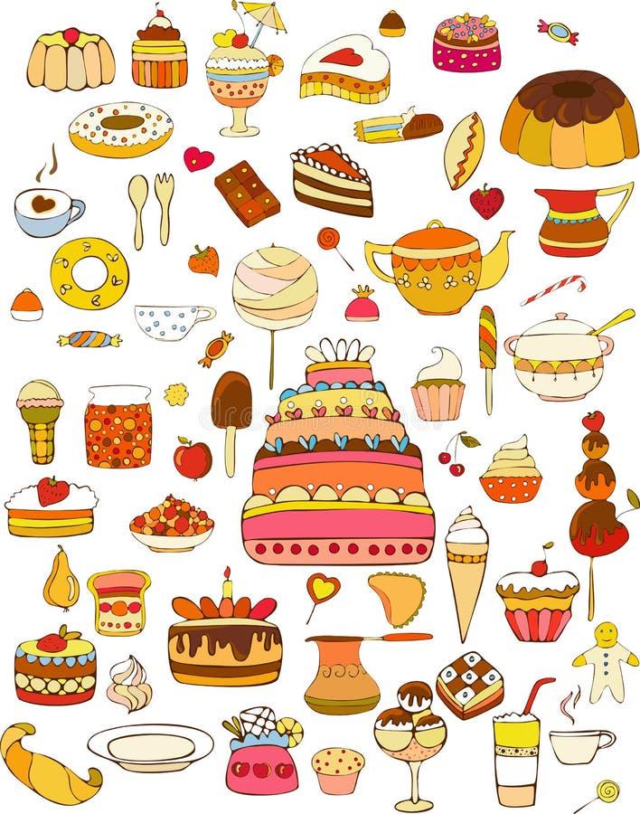 Bonbon-Nahrungsmittelset getrennt stock abbildung
