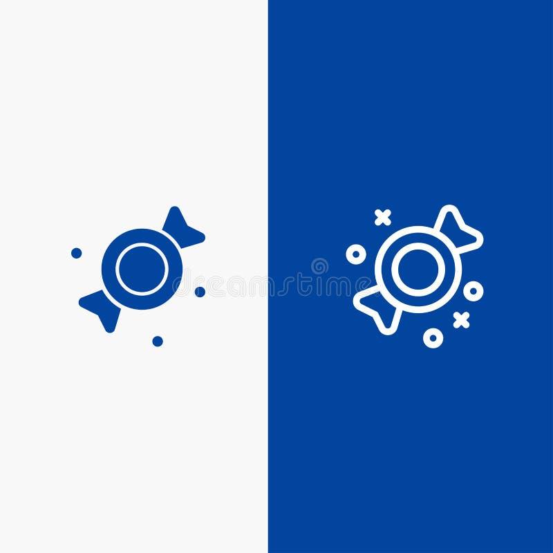 Bonbon, Süßigkeit, Bonbons blaue Fahne der blauen Fahne der zeichnen und des Glyph festen Ikone Ikone Linie und Glyph festen vektor abbildung