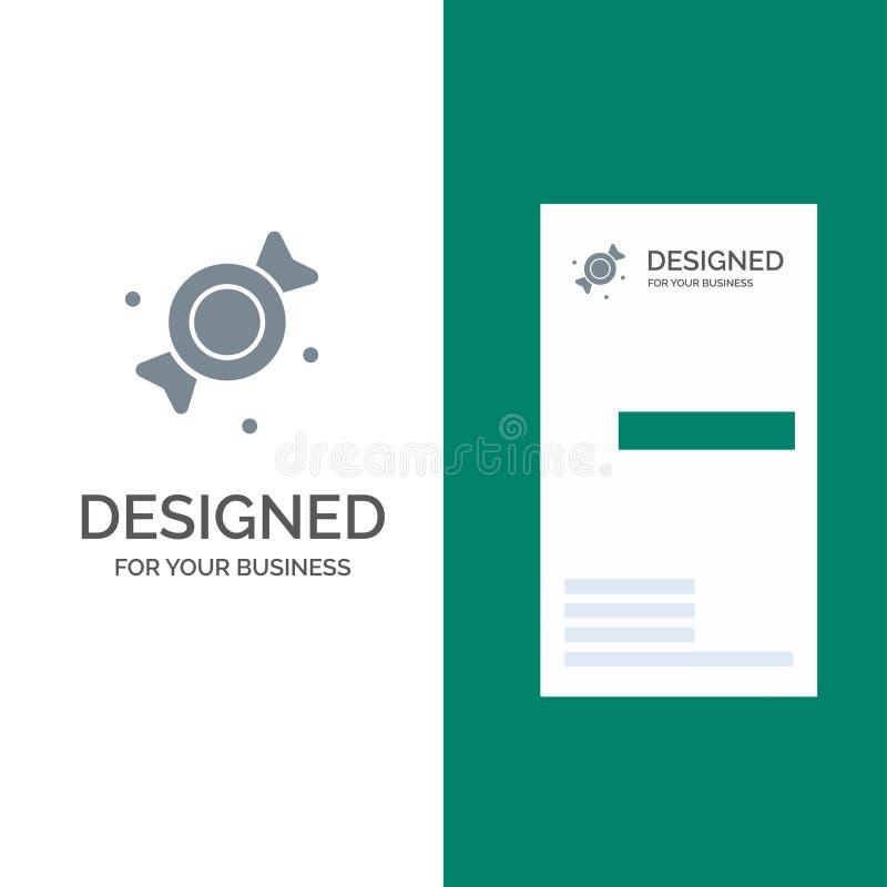 Bonbon, Süßigkeit, Bonbons Grey Logo Design und Visitenkarte-Schablone lizenzfreie abbildung