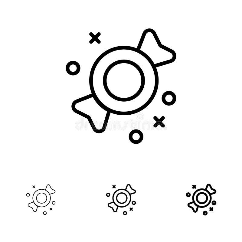Bonbon, Süßigkeit, Bonbons mutig und dünne schwarze Linie Ikonensatz vektor abbildung