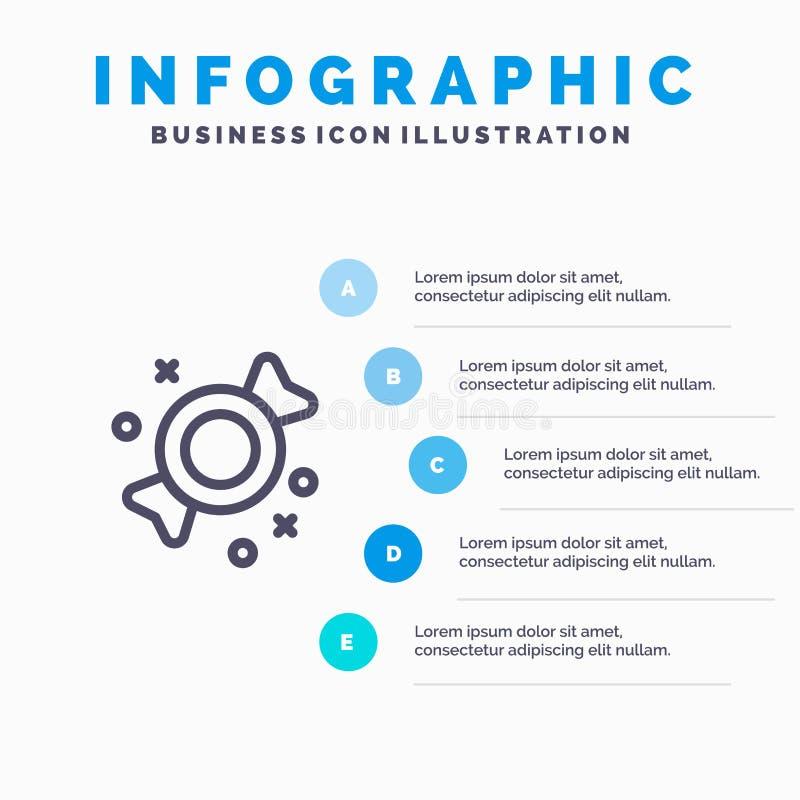 Bonbon, Süßigkeit, Bonbons zeichnen Ikone mit Hintergrund infographics die Darstellung mit 5 Schritten stock abbildung