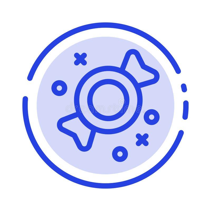 Bonbon, Süßigkeit, Linie Ikone der Bonbon-blauen punktierten Linie vektor abbildung