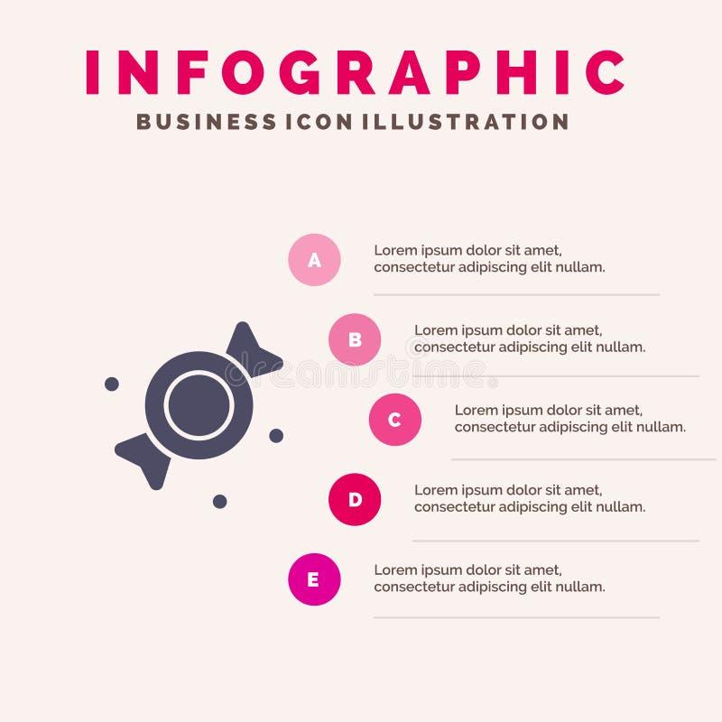 Bonbon, Süßigkeit, Schritt-Darstellungs-Hintergrund Bonbon-fester Ikone Infographics 5 lizenzfreie abbildung