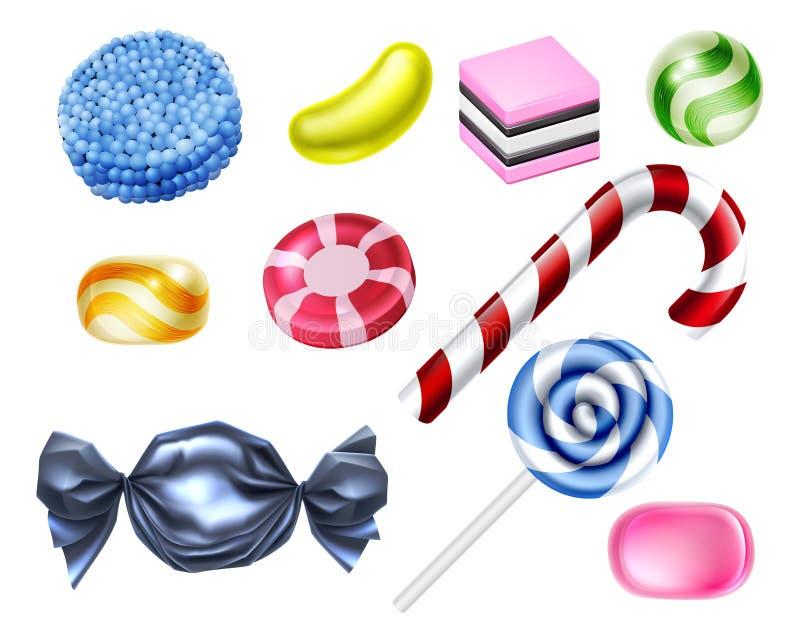 Bonbon-Süßigkeits-Satz lizenzfreie abbildung