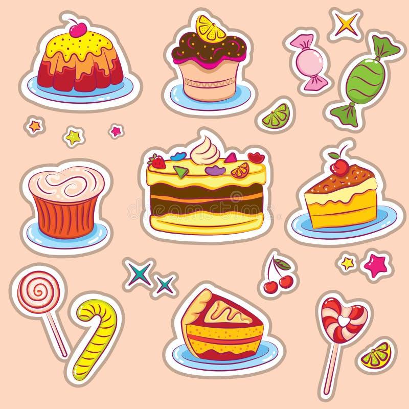 Bonbon-und Kuchen Aufkleber lizenzfreie abbildung