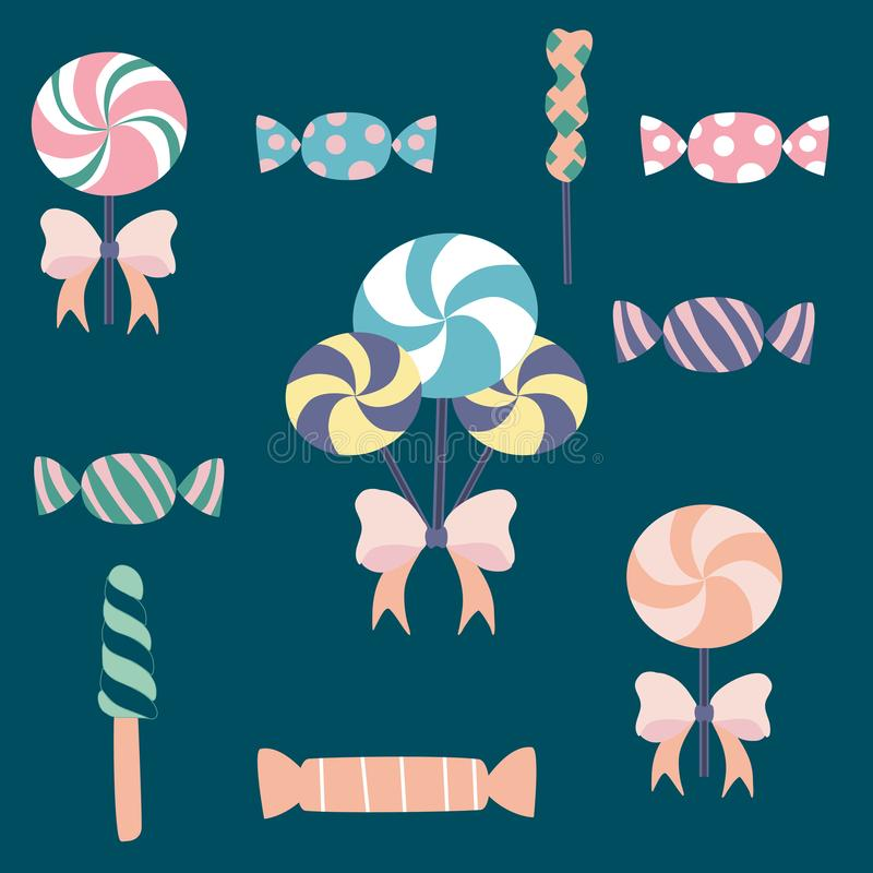 Bonbon- und Lutscherillustration Einkaufsumbauten und -ikonen lizenzfreie abbildung