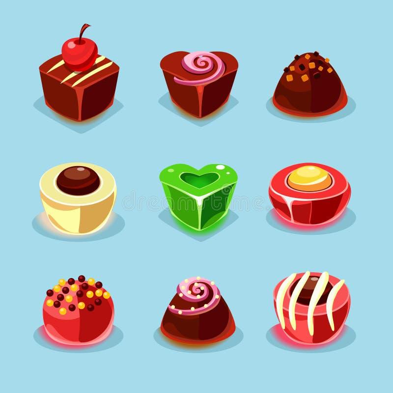 Bonbon-und Süßigkeits-Ikonen lizenzfreie abbildung