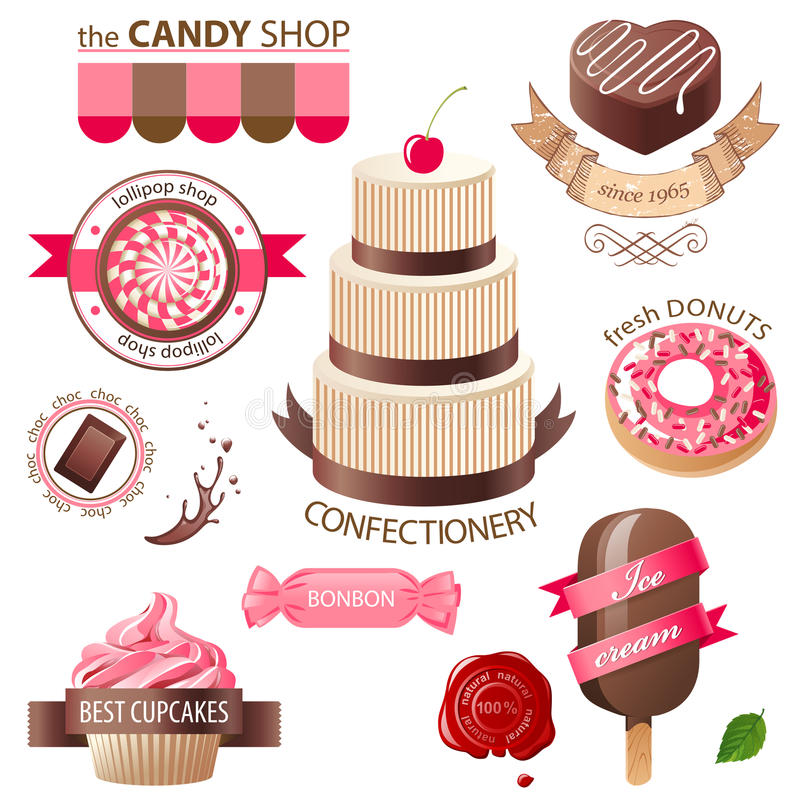 Bonbon- und Süßigkeitsembleme vektor abbildung