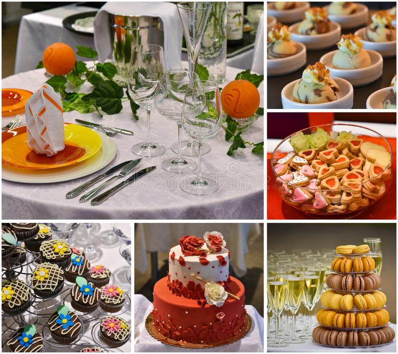 Bonbonkuchen und Nachtische, Hochzeitsfestlebensmittelcollage, versorgend stockfotografie