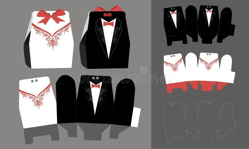 Bonbonniere de papel de novia y del novio, caja de Andy del  de Ñ stock de ilustración