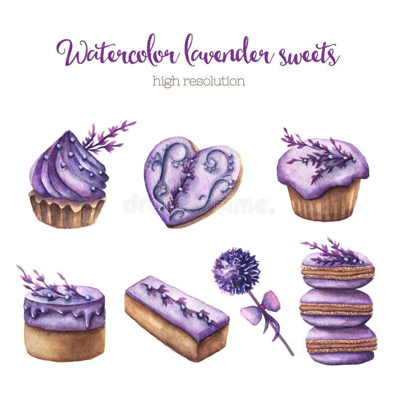 Bonbons à lavande d'aquarelle réglés illustration stock