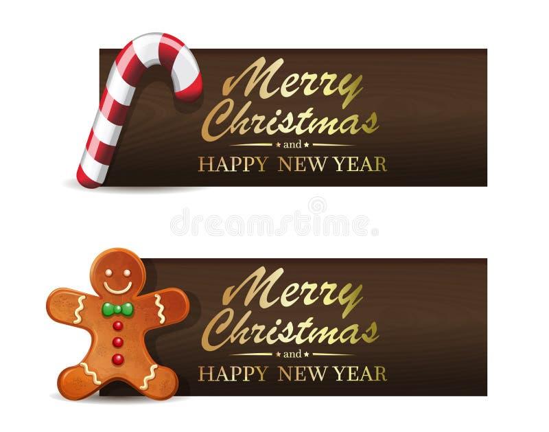 Bonbons à Noël Sucrerie de bonhomme en pain d'épice et de Noël illustration de vecteur