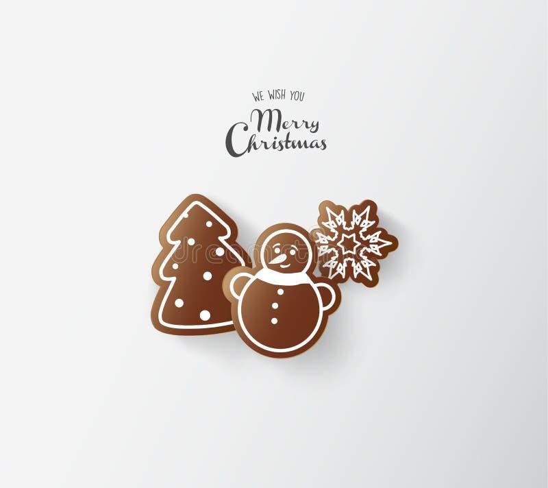 Bonbons à pain d'épice avec des souhaits de Joyeux Noël illustration de vecteur
