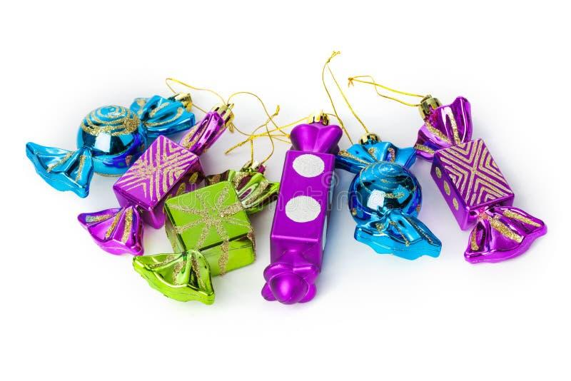 Bonbons à sucrerie - jouets d'arbre de Noël photos stock