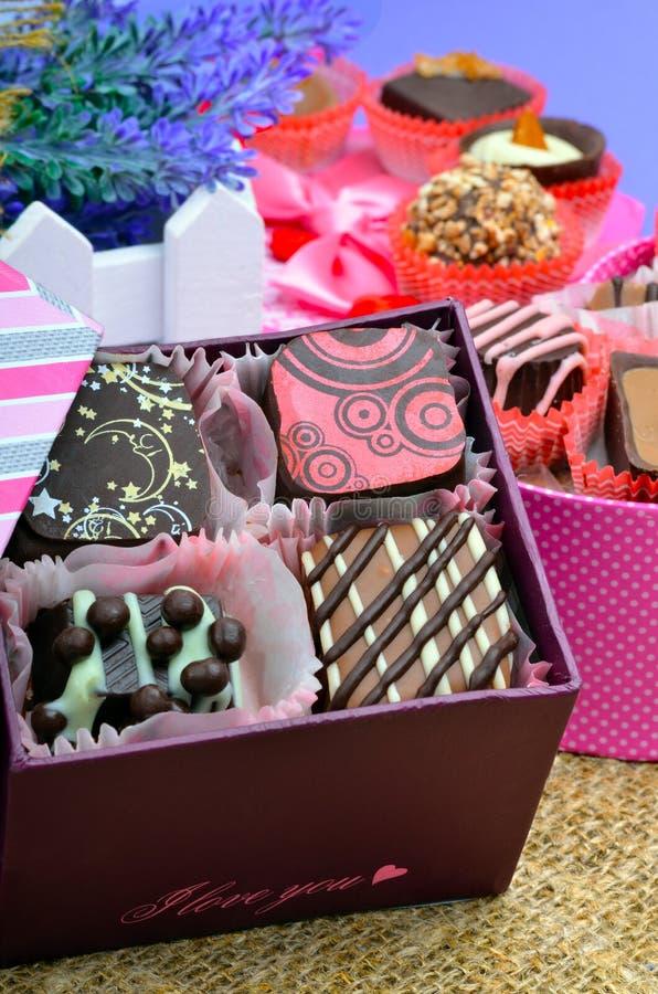Bonbons au chocolat faits main à chocolat belge dans différentes formes image libre de droits